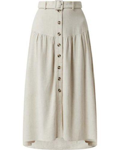 Beżowa spódnica midi rozkloszowana z paskiem Soaked In Luxury