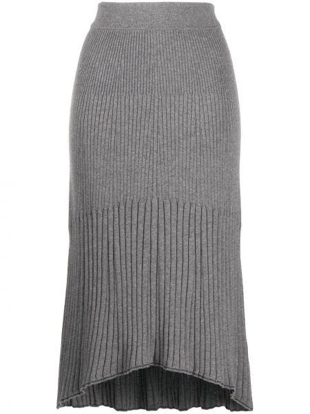 Хлопковая серая расклешенная с завышенной талией юбка тюльпан Calvin Klein