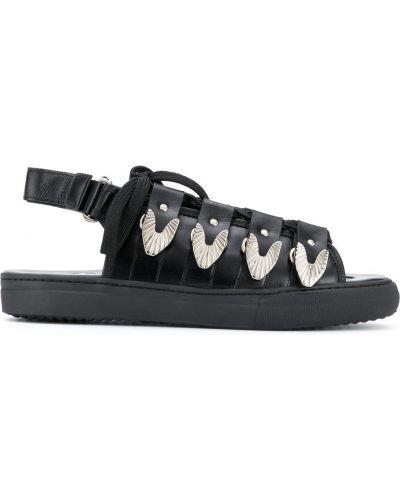 Открытые черные кожаные сандалии с открытым носком Toga Virilis