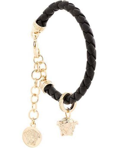Плетеный браслет с подвесками кожаный Versace