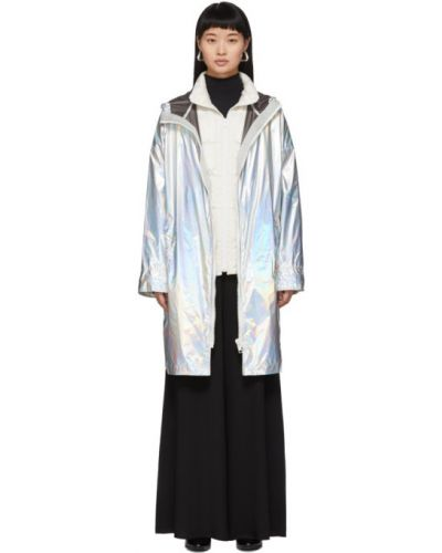 Белое пуховое длинное пальто с капюшоном Yves Salomon Army