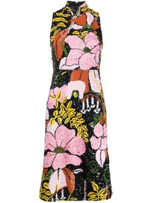 Расклешенное розовое платье миди с пайетками с воротником La Doublej