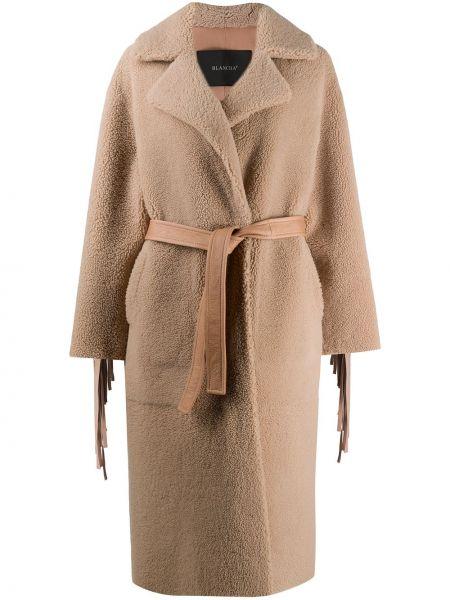 Кожаное длинное пальто с поясом на пуговицах Blancha