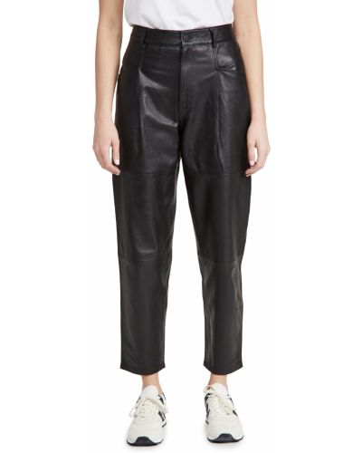 Черные с завышенной талией кожаные брюки Closed