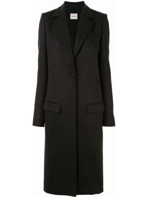 Однобортное черное длинное пальто на пуговицах Khaite