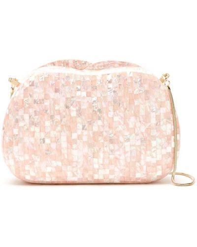 Розовая сумка на плечо с жемчугом с подкладкой Isla