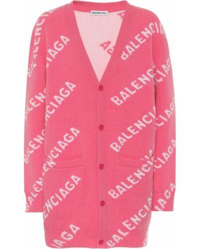Różowy wełniany kardigan rozciągać Balenciaga