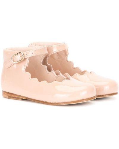 Розовые с ремешком кожаные балетки с пряжкой Chloé Kids