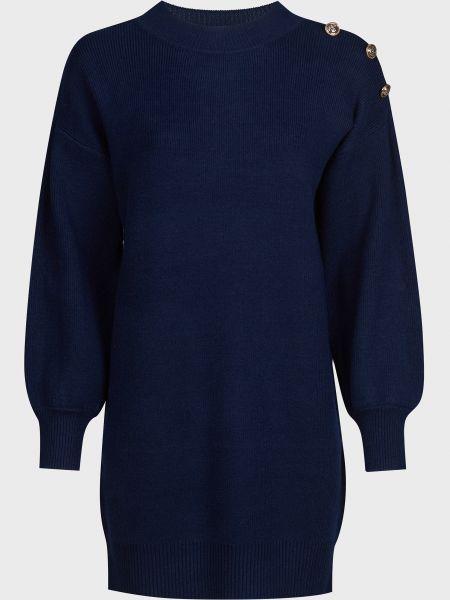 Синее платье на пуговицах из вискозы Silvian Heach