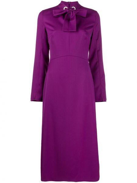 Fioletowa sukienka długa z długimi rękawami wełniana Escada