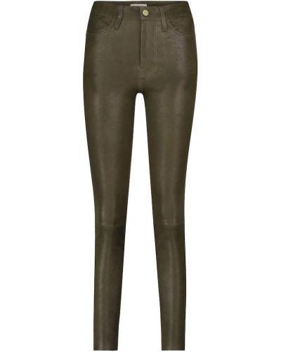 Зеленые зауженные кожаные брюки Frame