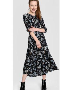Черное платье миди на резинке с оборками с вырезом Ostin