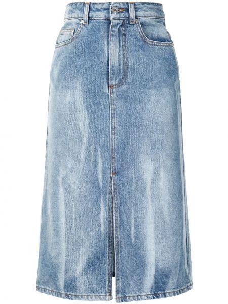 Классическая с завышенной талией джинсовая юбка на молнии с разрезом Msgm