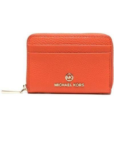 Оранжевый кожаный кошелек для монет с карманами Michael Michael Kors