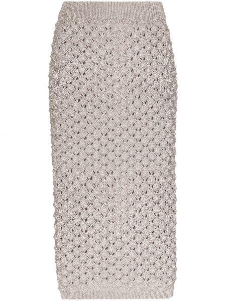 Серая прямая с завышенной талией юбка миди в рубчик Vika Gazinskaya