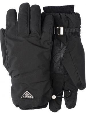 Czarne rękawiczki skorzane Prada