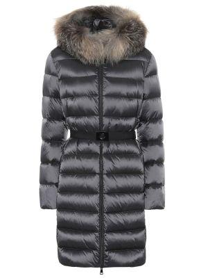 Черная нейлоновая куртка с капюшоном с опушкой Moncler