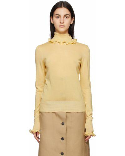 Żółty golf z długimi rękawami z wiskozy Victoria Beckham