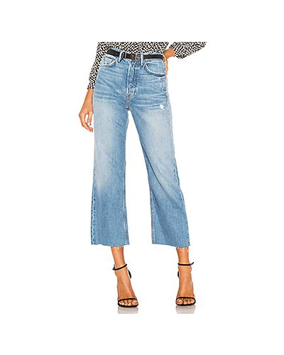 Укороченные джинсы синие на пуговицах Grlfrnd