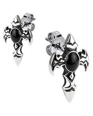 Серьги черный серебряный Spikes