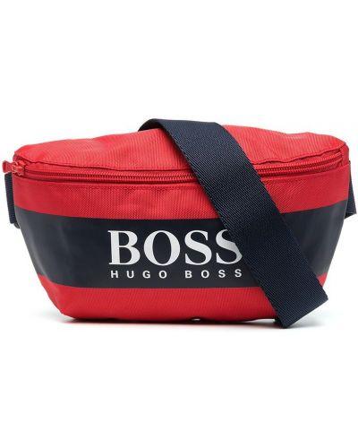 Красная поясная сумка на молнии со вставками Boss Kidswear