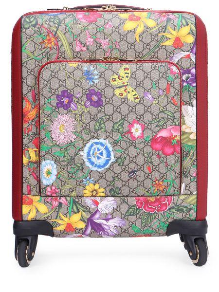 Кожаный чемодан с карманами на молнии прямоугольный Gucci