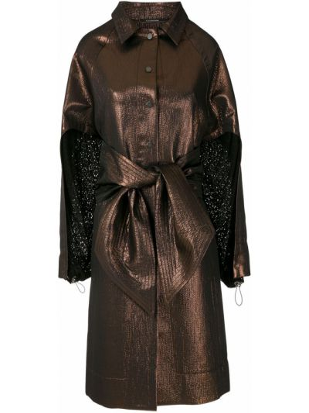 Коричневое акриловое пальто классическое с поясом с лацканами à La Garçonne
