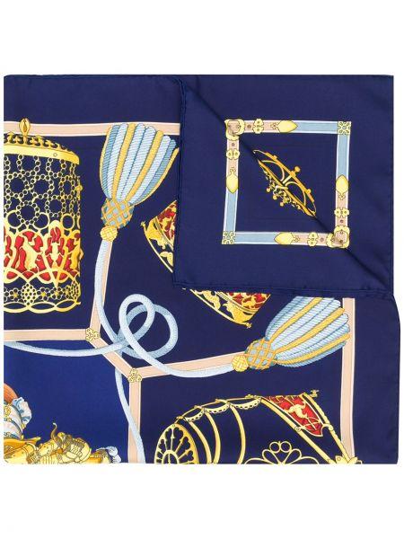 Синий шелковый платок винтажный Hermès