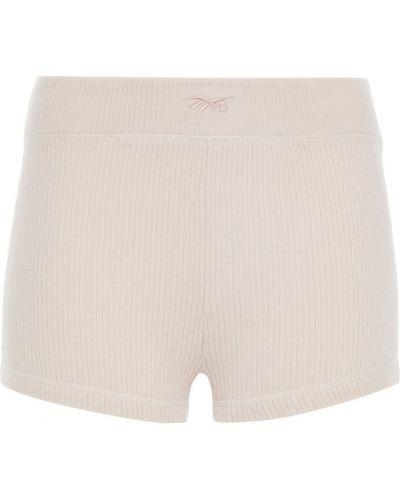 Бежевые шерстяные шорты с вышивкой Reebok X Victoria Beckham