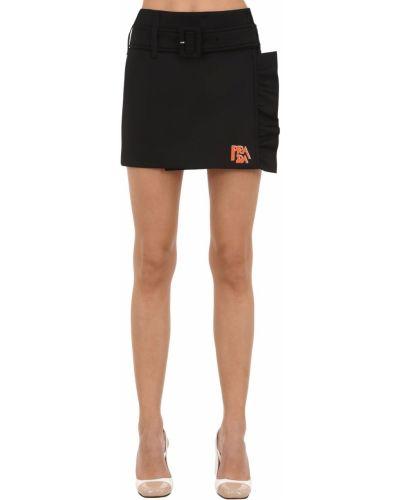 Трикотажная черная юбка мини с подкладкой Prada