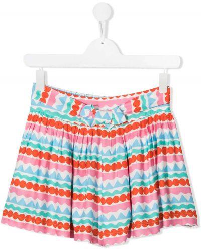 Хлопковая белая плиссированная юбка Stella Mccartney Kids