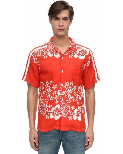 Pomarańczowa koszula krótki rękaw w paski Just Don