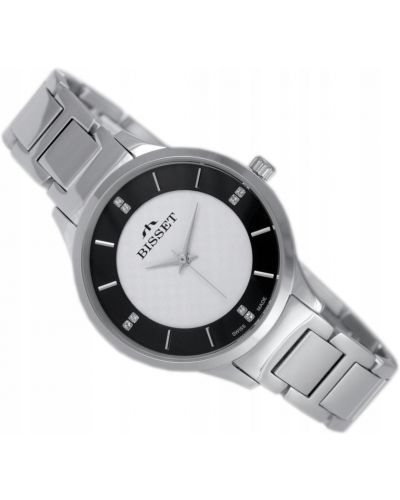 Klasyczny czarny zegarek srebrny Bisset