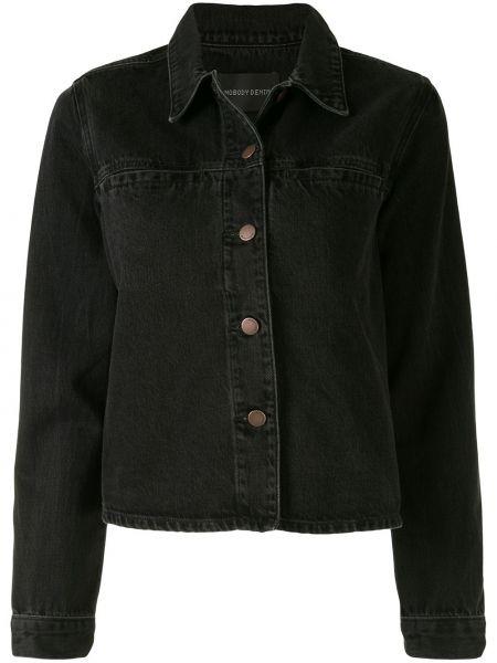 Текстильная черная джинсовая куртка с воротником на пуговицах Nobody Denim