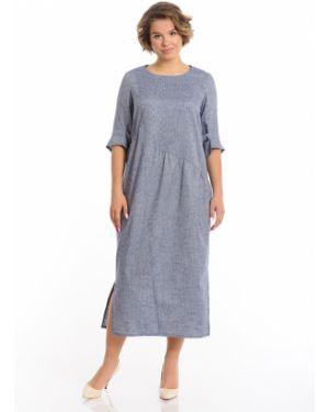 Свободное плиссированное платье миди с разрезами по бокам со складками Merlis