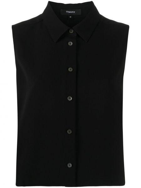 Черная рубашка без рукавов с воротником Theory