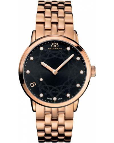 Водонепроницаемые часы черные кварцевые 88 Rue Du Rhone