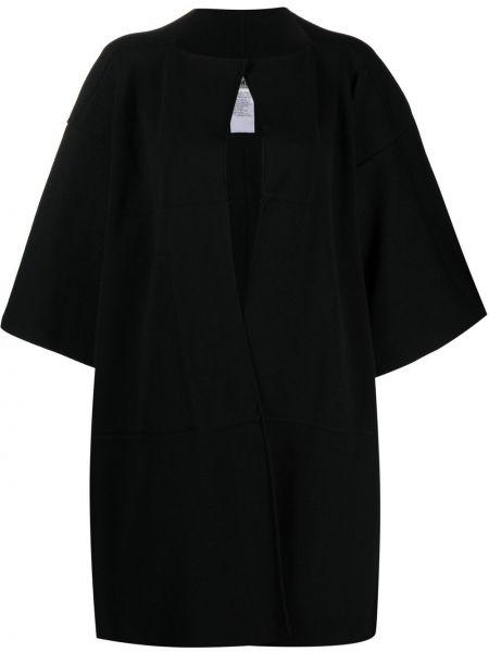 Czarny płaszcz bawełniany krótki rękaw Issey Miyake