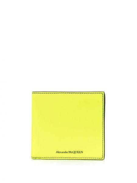 Żółty portfel skórzany z printem Alexander Mcqueen