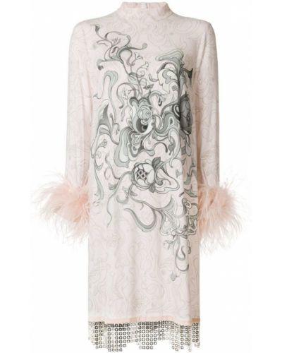Платье с цветочным принтом с длинными рукавами прямое Prada