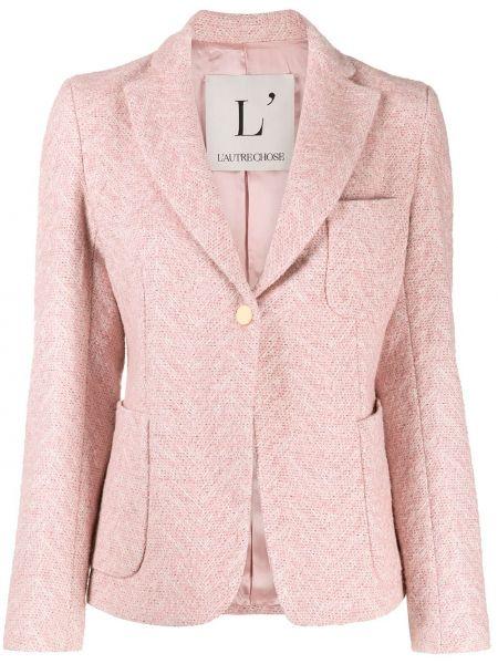 Шерстяной розовый приталенный удлиненный пиджак L'autre Chose