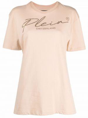 Хлопковая прямая футболка с вырезом с короткими рукавами Philipp Plein