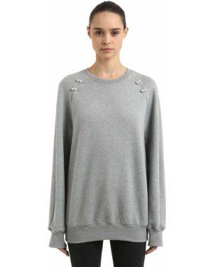 Prążkowana bluza z raglanowymi rękawami perły Coliac