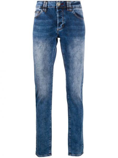 Bawełna prosto niebieski klasyczny jeansy z paskiem Philipp Plein