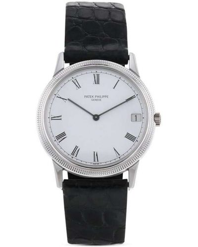 Белые с ремешком кожаные часы Patek Philippe
