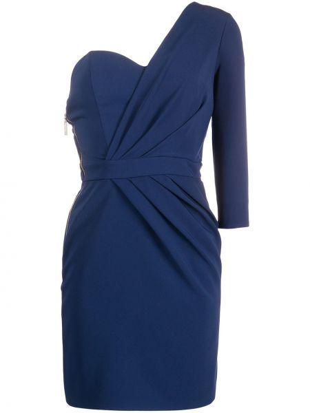 Коктейльное платье на одно плечо с поясом Elisabetta Franchi