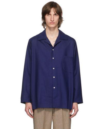 Синяя рубашка с воротником с заплатками с карманами Camiel Fortgens