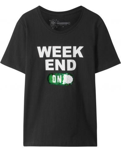 Зауженная черная футболка с пайетками Bonprix