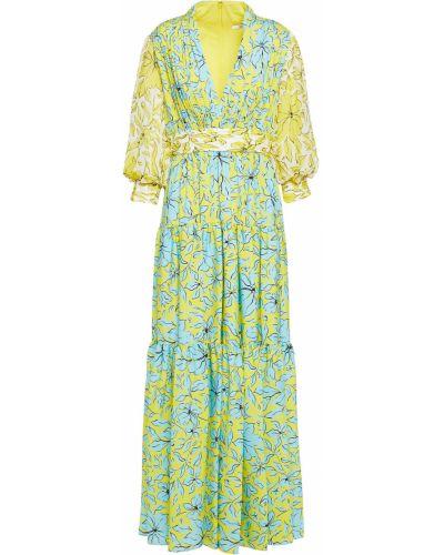 Żółta sukienka na wesele zapinane na guziki z printem Badgley Mischka