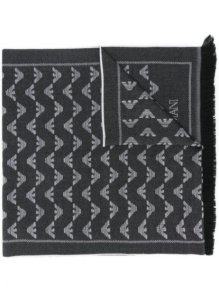 Wełniany szalik z logo Emporio Armani